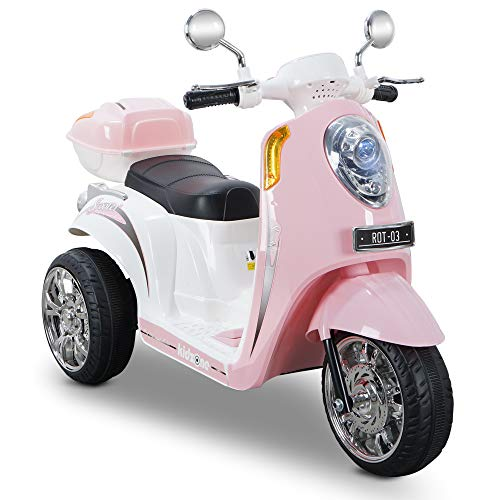 Kidzone Ride On Motorcycle Toy for Toddlers Aged 3+ Years - 6V Battery-Powered 3-Wheel Power Scooter with Music, Headlight, Horn, Storage Trunk, Key Switch - for Boys & Girls, Light Pink