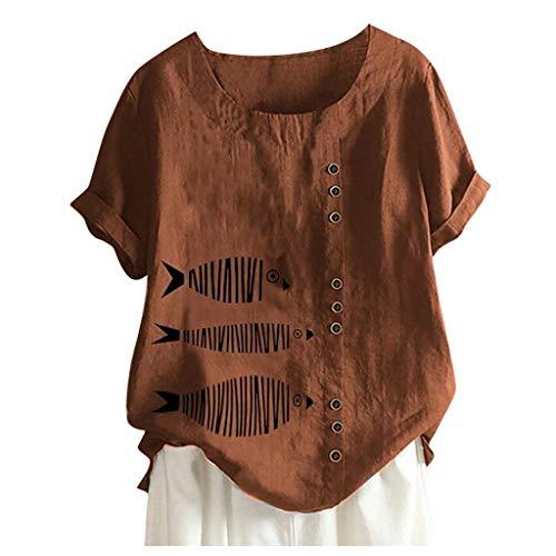 Damen Neue Baumwolle Leinen Tunika Sommer O-Ausschnitt T-Shirt Einfach Bekleidung(Braun,3XL)
