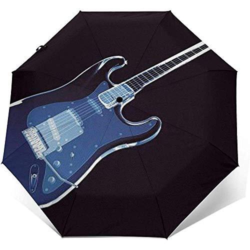 Blaue Gitarre Folding Compact Regenschirm wasserdicht-Sun Block-Auto Open&Close (schwarzer Kleber)