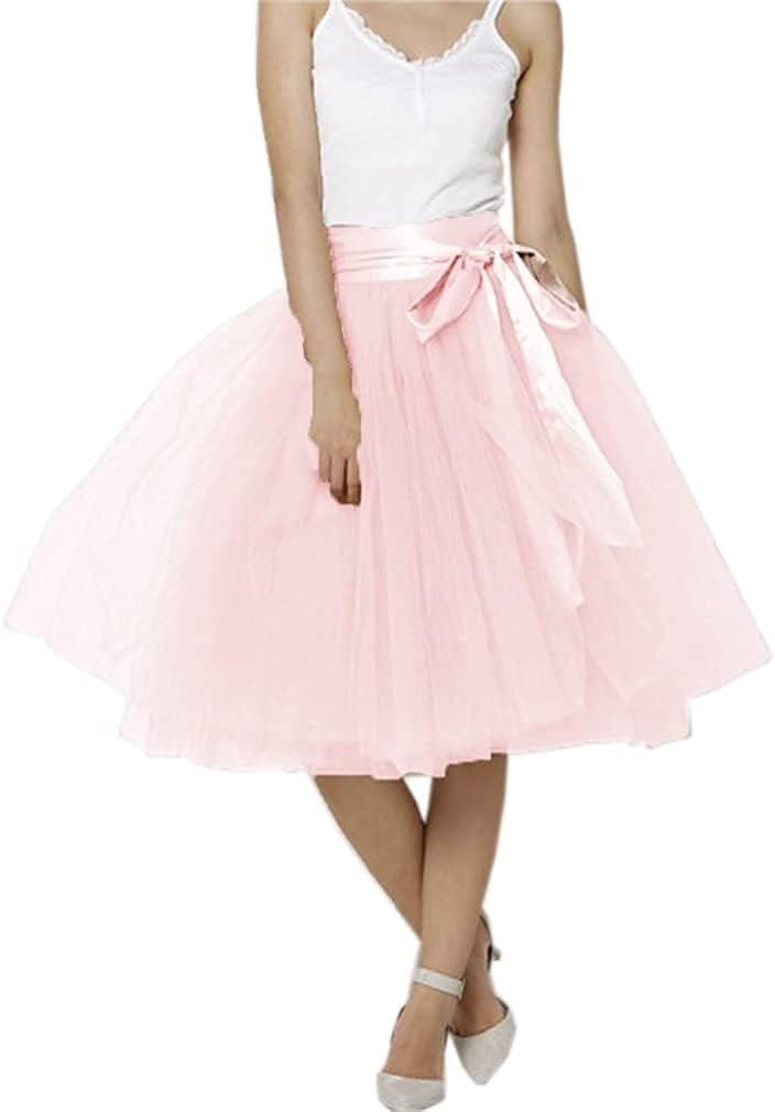 Women's XL Long Skirt, A-line Short Skirt, Tulle Long Skirt, Tulle Wedding Dress, Tulle Dress (Color : Light Pink, Size : 5X-Large)