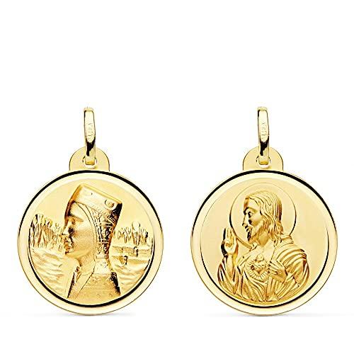 Medalla oro 18k escapulario Virgen Montserrat Corazón de Jesús
