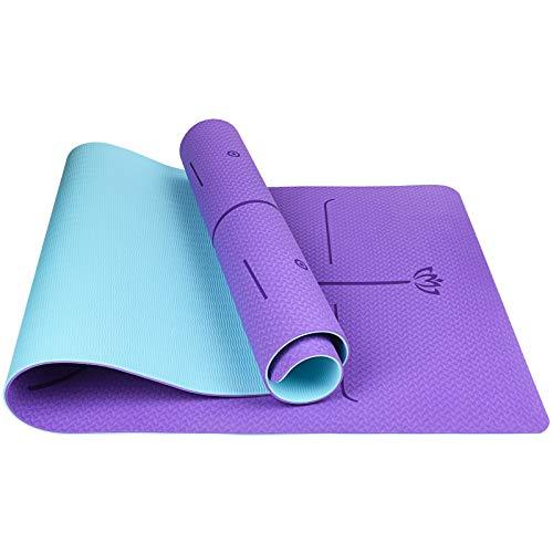 Tappetino Fitness Palestra, Tappeto Yoga Antiscivolo con Linee di Allineamento, 100% Ecologico TPE, Yoga Mat con Borsa e Cinturino, Per Pilates Allenamento Gym Ginnastica, 183 x 68 x 0.6 cm
