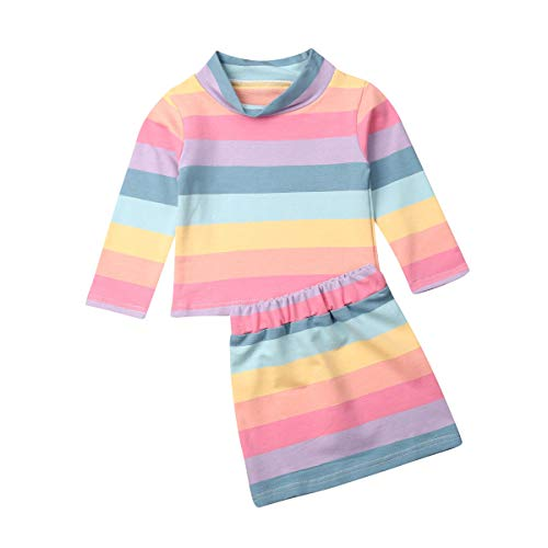 Carolilly 2 PCS Set Completo Bambina Maglietta a Manica Lunga+Gonna Mrcobaleno Multicolore