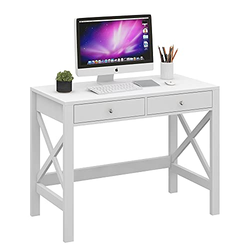 ChooChoo Computer Desk Study for Home Office, Modern Simple White Desk with Drawers, Makeup Vanity Console Table