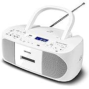 MEDION E64070 Stereoradio (CD-Player, Kassette, USB Anschluss, AUX Audioeingang, MP3-Widergabe. UKW PLL Radio,40 Senderspeicher, Batteriebetrieb, Fernbedienung) weiß