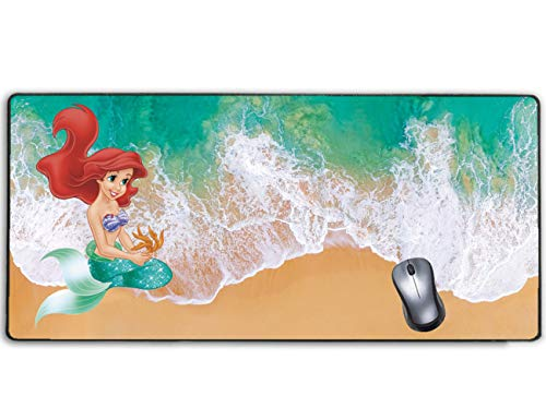 Extended Gaming Mouse Pad Disney Little Mermaid Ariel on Beach,Stitched Edge and No-sliped Large Desk Mat, Mousepad for Game Computer Keyboard, PC and Laptop