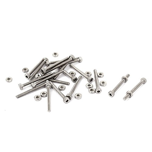 Sourcingmap® M2x 20mm 22mm Lange Hex Steckschlüssel gerändelten Cap Schrauben Schrauben Muttern Set 20Stück