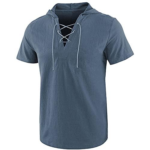 Camisas de algodón para hombre con capucha y cordón de manga corta estilo gótico medieval sin cuello Hippie Henley, camiseta ligera de verano