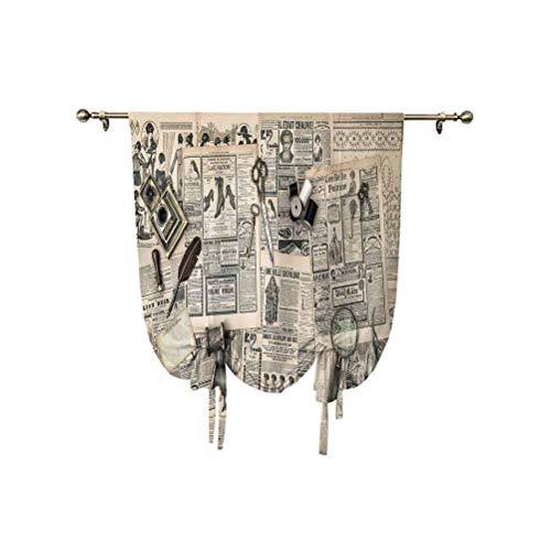 Paneles de cortina para decoración de relojes, accesorios antiguos, herramientas de costura y escritura con aislamiento térmico, 24 x 47 pulgadas, para ventana de baño, color beige y negro