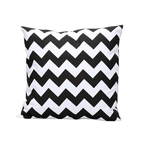 iHome Almohada Decorativa Case Rayas, algodón Lino, 45x 45cm, Zig Zag Blanco y Negro