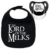 Pack chupete y babero negros The lord of the milks. Parodia El señor de los...