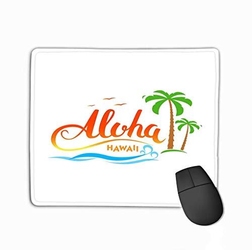 Rechteck rutschfeste Gummi Mousepad Aloha Hawaii Handgemachte tropische exotische Aloha Hawaii Kalligraphie Wörter Palmen Ozean Vögel Sommerkleidung