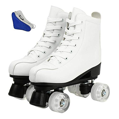 XUDREZ Roller Skates for Women Men Cozy PU Leather High-top Roller Skates for Beginner Double-Row PU Wheels, Professional Indoor Outdoor Roller Skates with Shoes Bag (White no Flash,37)