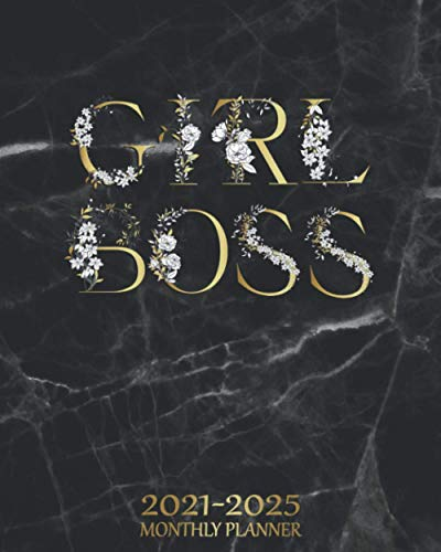 Compare Textbook Prices for Girl Boss 2021-2025 Monthly Planner: Stylish 5 Year 60 Months Monthly Calendar & Schedule Agenda - Black Marble & Floral Five Year Organizer with Inspirational Quotes, To-Do's, Vision Boards & More  ISBN 9798689550978 by Planners, Creative