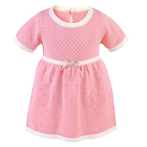 puseky Säuglingskleinkindbaby-Strickkleidkurzschlußhülsenbaumwollknit Beiläufiges Kleid