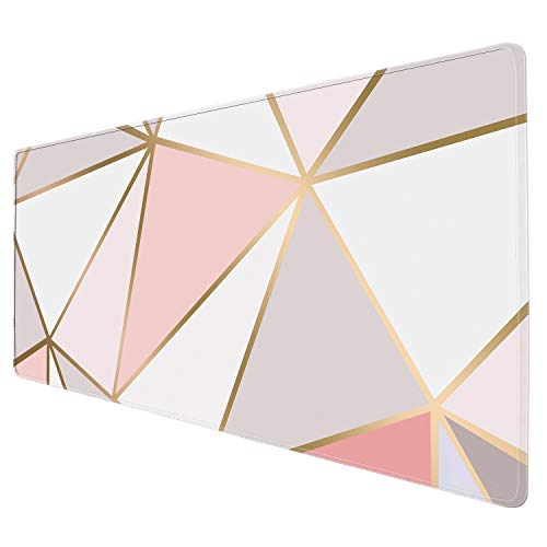 """ZYCCW Large Gaming XXL Mouse Pad with Stitched Edge 31.5""""x11.8""""x0.15"""" Rose Gold Marble Mouse Mat Customized Extended Gaming Mouse Pad Anti-Slip Rubber Base Ergonomic Mouse Pad (Rose Gold Mouse pad) Photo #3"""