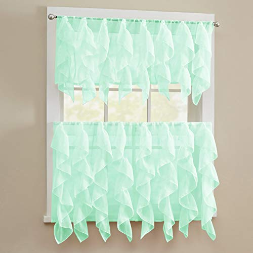 Sweet Home Collection 3 Piece Kitchen Curtain Set Sheet Vertical Cascading Waterfall Ruffle Includes Valance & Choice of 24' or 36' Teir Pair, Tier, Sheer Mint