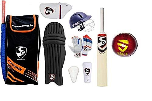 S+S SG Comfipak Academy Cricket-Set (ideal für Seniorspieler), 100% Original, mit SIPL Club Lederball gratis