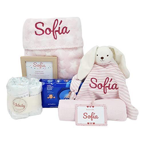Stars de Mababy | Canastilla Bebé personalizada que incluye Manta y Dou Dou Bordado con el nombre del Recién Nacido. Regalo Bebé… (Rosa)