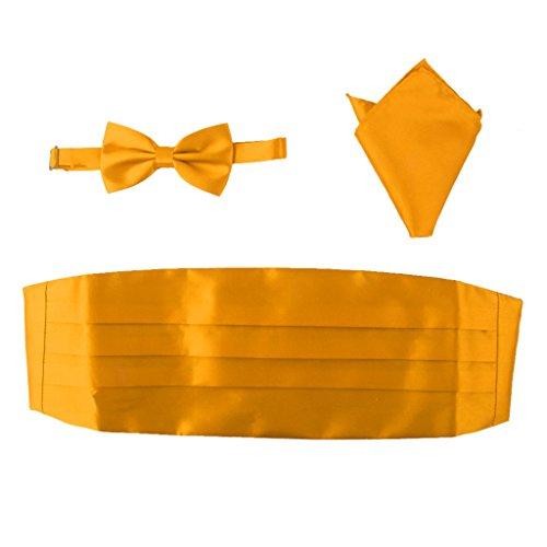 sharprepublic Sets de Corbata de Lazo con Pañuelo de Bolsillo Fajín de Satén Ajustale Accesorios de Ropas Formales para Hombres Caballeros - Amarillo, Estilo 9