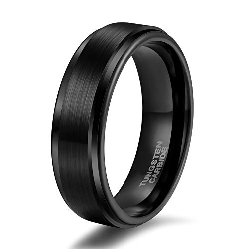 6mm 8mm Tungsten Carbide Wedding Ring Band for Men Women Step Edge Black/ Silver Engraved I Love You Comfort Fit 4-15 (6mm Black Step Edge, 10)