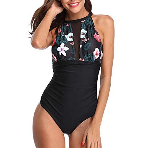duquanxinquan Badeanzug Schwimmanzug Frauen Einteiler Schlankheits Bademode High Neck Strandmode Mesh Beachwear Strandkleidung