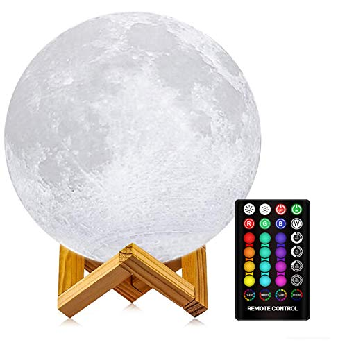 Moon Lamp, LOGROTATE 3D Print LED 16 Colors RGB Moon Light, Decorative Lights Night Light with Remote&Touch Control and Adjustable Brightness & USB Recharge for Kids Lovers Birthday Gifts (5.9 inch)