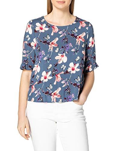 Only Onlnova Life S/S Frill Top AOP WVN Camiseta, Indigo Vintage, XL para Mujer