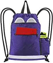 BeeGreen Purple String Backpack Bag for Sports 1 Pieces Cinch Sack w Zipper Front Pocket Portable Sinch Sackpack Large Durable Gymsack for Boys Girls Teens w Water Bottle Pouch