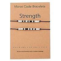 Strength Morse Code ブレスレット インスピレーションを与えるジュエリーギフトセット 願い事を叶える友人 家族 誕生日ギフト 友情 ハンドメイド ステンレススチール製ビーズ シルクコード付き