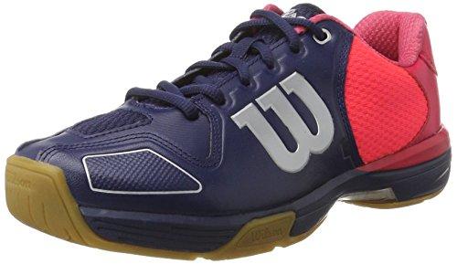 Wilson Scarpe da badminton unisex, Ideales para jugadores de todos los niveles, Para terrenos de juego interiores, VERTEX, Tejido/Sintético, Azul/Rojo (Navy Wil/Neon Red Wil/Silver Metall), Talla: 37