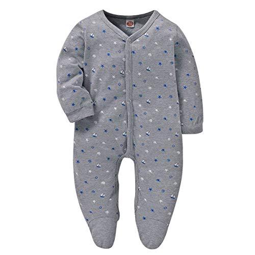 CARETOO Baby Unisex Strampler aus Baumwolle für Mädchen und Jungen, Pyjamas Cartoon Schlafstrampler