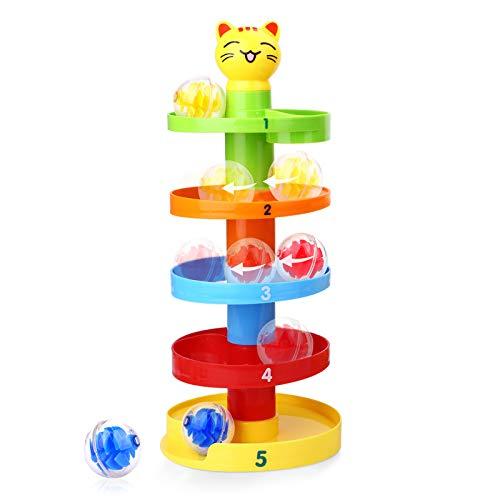 Peradix Kugelbahn pädagogisches Spielzeug Puzzle Rolling Ball mit 5 Stapel 3 Kugeln für Baby Kinder ab 9 Monate Design,Mehrweg (Katze)