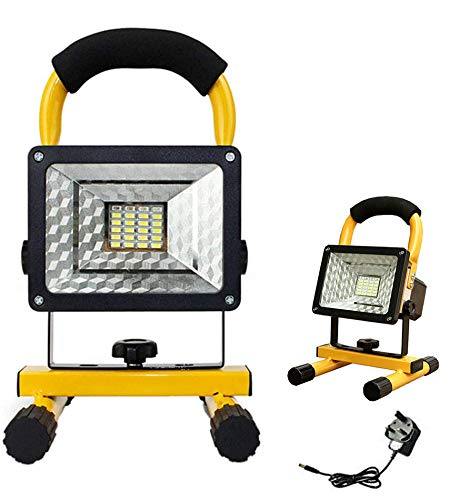 Rechargeable Floodlight, 30 LED Work Light Portable Work Lights Waterproof Outdoor Emergency Lights with Stand (30W)