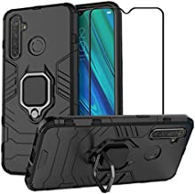EasyLifeGo for Realme 5 Pro Kickstand Case with Tempered Glass Screen Protector [2 Pieces], Hybrid Heavy Duty Armor Dual Layer Anti-Scratch Case Cover, Black