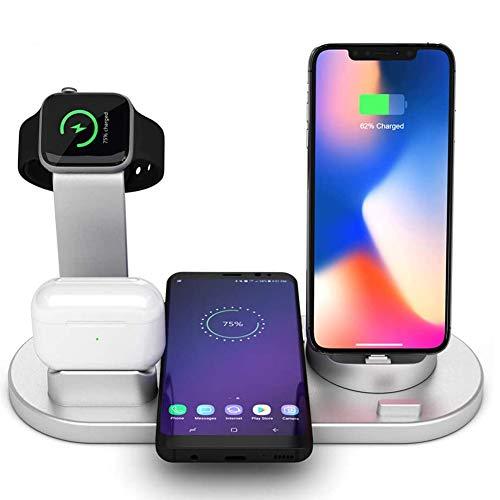 Stazione di Ricarica Wireless 4 in 1 Qi Compatibile con Samsung iPhone X XS XR Max 8 Plus ,Supporto Caricabatterie Wireless Compatibile con AirPods, Apple Watch iWatch Titolare 4 3 2 1 (Argento)