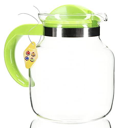 KADAX Teekanne mit Deckel, 1.5 Liter, feuerfeste Glaskanne aus Borosilikatglas und Kunststoff, hitzebeständig, Kanne für Kaffee, Tee, Saft, Wasser, Getränke, Teekrug (grün)