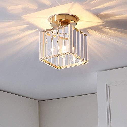 DJY-JY Iluminación moderna para todo el techo de cristal de cobre americano escaleras pasillo de entrada nórdico simple balcón dormitorio lámpara 14 cm * 16 cm