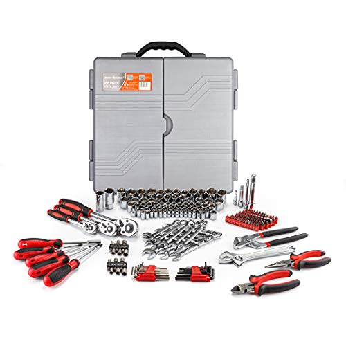 CARTMAN Tool Set 205 Pcs Red, Ratchet Wrench with Sockets Kit Set in Plastic Toolbox