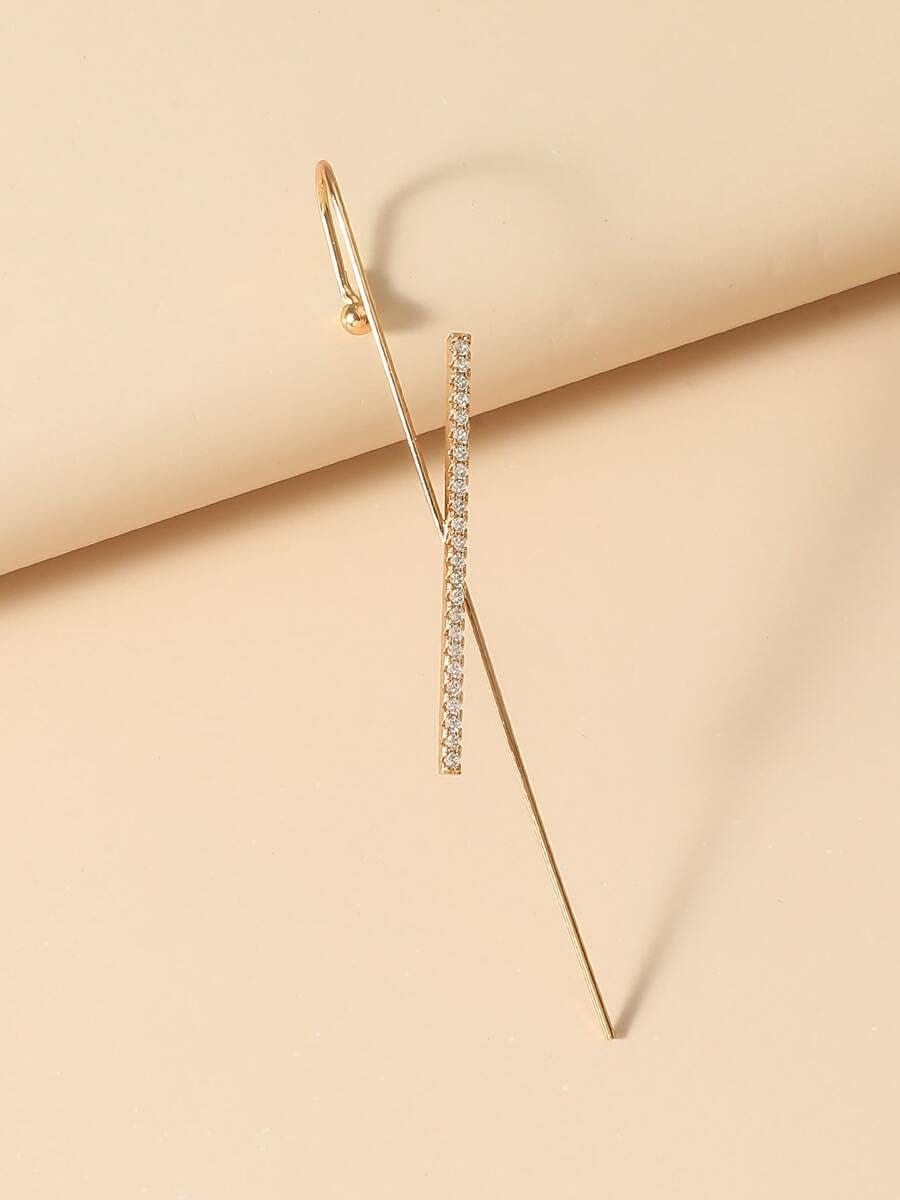 AXJTNL Hoop Earrings 1pc Rhinestone Decor Ear Cuff (Color : Gold)