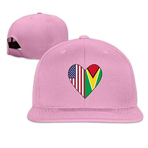 Half Guyana Flag Half Usa Flag Unisex Herrenmütze Sportkappe Hip-Hop-Kappe Verstellbare Flache Herren-Baseballmütze Sonnenmütze für Erwachsene