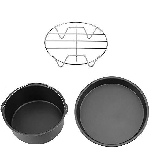 Moldes Freidora Aire Accesorios, incluye estante para pan, molde para pizza, tapete de silicona, soporte para metal, estante de brocheta, barril para pastel, antiadherente(Negro)