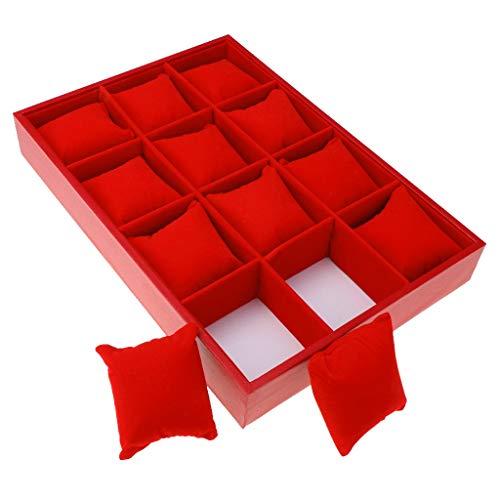 HBNNBV Cuero Reloj Caja 12 Rejilla de Terciopelo Caja de Reloj de Pulsera Organizador de Almacenamiento Display Box Box Almohadas Guardar (Color : Red)