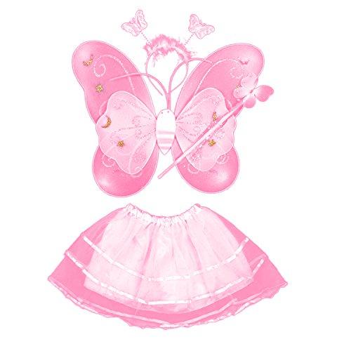 Vococal® 4 Pcs/Set Mignon Papillon Style Enfants Kids Aile Baguette Bandeau Robes Fille Fée Costume de Scène pour Le Spectacle de L'École de Cosplay Halloween Party Rose