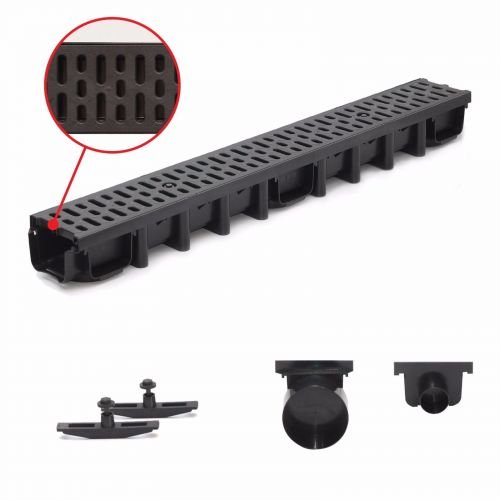 1 m Entwässerungsrinne für modulares System A15 98mm, komplett Schwarz Classic