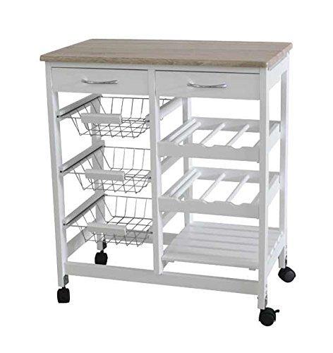 HYGRAD BUILT TO SURVIVE Kitchen Trolley MDF Top White/Grey Island Dining Cart Worktop Basket Storage Lockable Wheels (White)