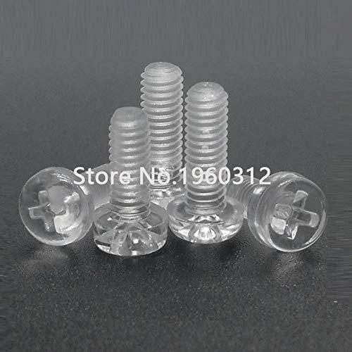 50st M2 m2. 5 m3 m4 DIN7985 ISO7045 wit of zwart nylon schroef of transparant plastic kruis verzonken ronde kop schroeven, transparant acryl, M2