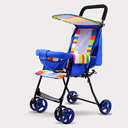 JHGK Ultraleichter Kinderwagen, Leicht Und Kompakt. Kinder Können Sitzen Und Liegen. Das Vierrädrige Kinderfahrzeug Kann Zusammengeklappt Werden (1-3 Jahre),Blau