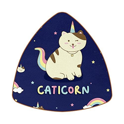 Bennigiry Caticorn Cat Rainbow Stars - Posavasos resistentes al calor para taza de café y té, juego de 6