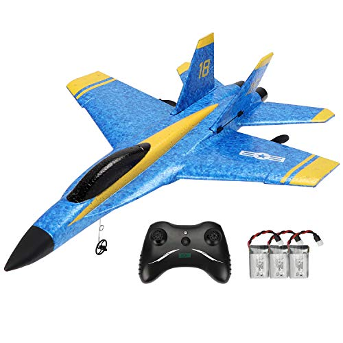 Techway Rc Plane 2 Channel Remote Control Airplane Ready to Fly Rc Planes for Kids Beginners and Adults,2.4GHZ RTF RC Gliding Aircraft Model Easy & Ready to Fly with 3 Batteries